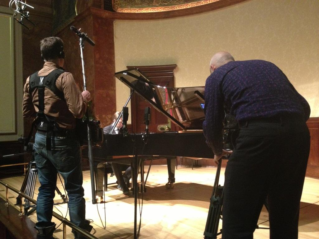 Phil Grabsky filming Leif Ove Andsnes at the Wigmore Hall